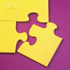 Corner Jigsaw Puzzle Piece --- Image by © Lawrence Manning/Corbis